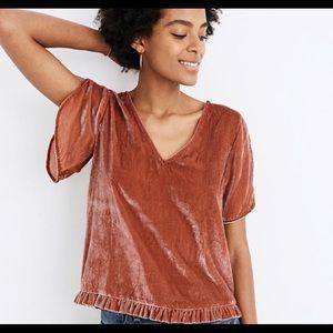 NWT Madewell velvet blouse